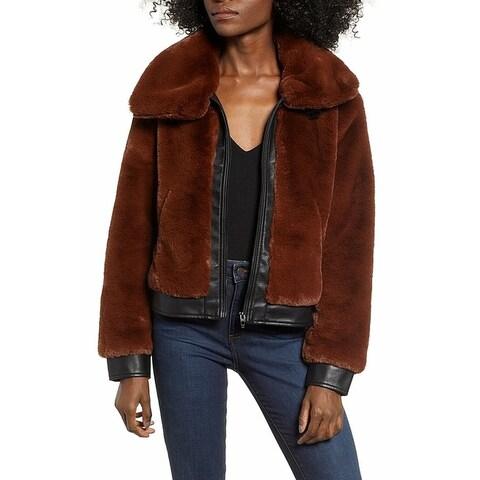BLANKNYC Womens Faux-Fur Zip-Front Collar Jacket