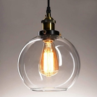 "Link to Vintage Ball Glass Ceiling Pendant with Adjustable Cord Length - 7.9""x7.9""x7.9"" Similar Items in Pendant Lights"