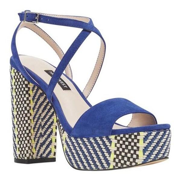 c699456bc219 Nine West Women  x27 s Markando Block Heel Platform Sandal Dark Blue Suede