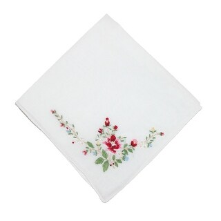 CTM® Women's Cotton Floral Embroidered Handkerchief - one size