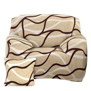 Home Polyester Geometric Pattern Elastic Sofa Chair Cover Slipcover 35-55 Inch