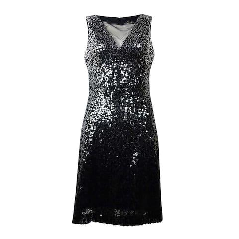 Jessica Simpson Women's Sequin Sleeveless Flare Dress - Silver/Black - 6