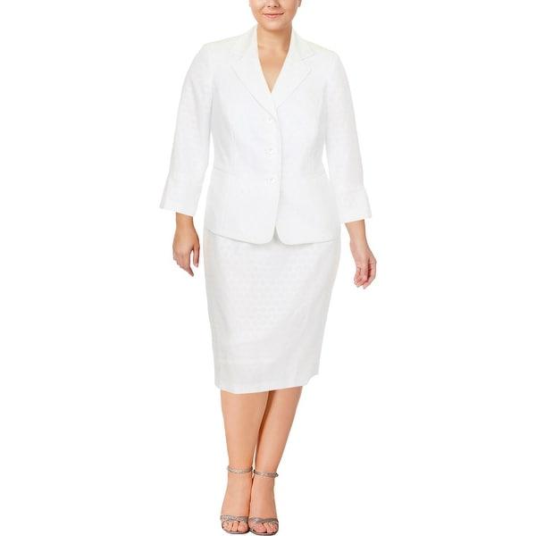 Le Suit Womens Plus Skirt Suit Jacquard 2PC
