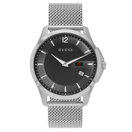 Gucci Men's 'G-Timeless' YA126315 Anthracite Dial Stainless Steel Mesh Bracelet Watch
