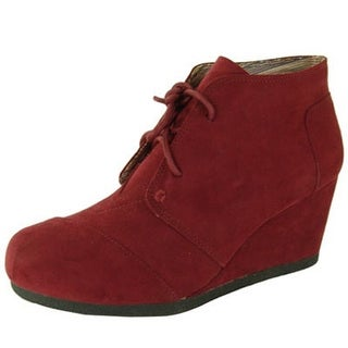 Qupid Womens Olee-11 Rex Lace Up Ankle Wedge Booties