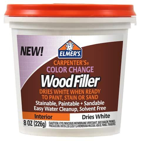 Elmer's E916 Carpenter's Color Change Interior Wood Filler, Dries White, 8 Oz