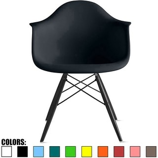 2xhome - Plastic Armchair Black Wood Legs Eiffel Dining Room Lounge Chair Molded Arm Chairs Seats with Wooden Dowel Leg