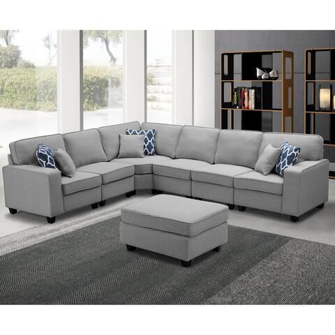 Casanova 7-piece Modular Light Gray Sectional Sofa - Grey