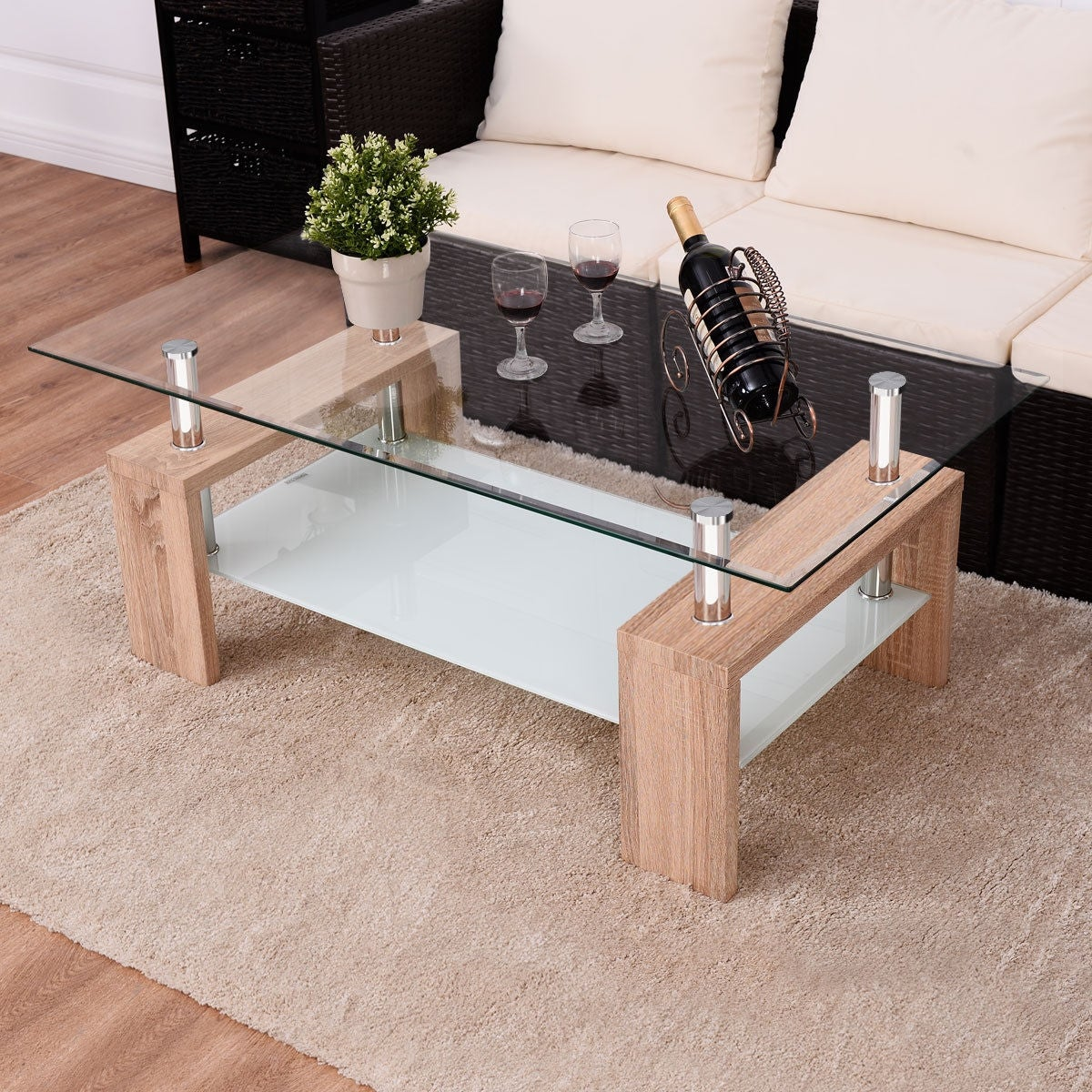 Picture of: Costway Rectangular Tempered Glass Coffee Table W Shelf Wood Living Room Furniture Overstock 16591592