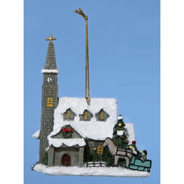 "4"" Thomas Kinkade Country Church Christmas Ornament - multi"