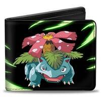 Venusaur Pose + Pokmon Black Greens Bi Fold Wallet - One Size Fits most
