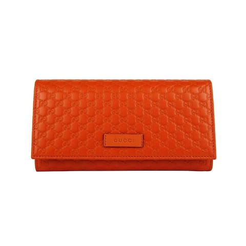 Gucci Women's Sun Orange Leather Microguccissima Flap Long Wallet 449396 7527 - One Size