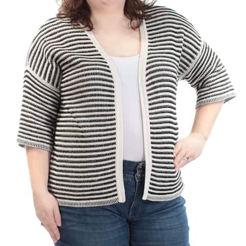 MAXMARA Womens Black Striped 3/4 Sleeve Open Sweater Size XXL
