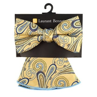 Men's Yellow Paisley Banded Adjustable Bow Tie & Matching Pocket Round Set - One size