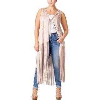 Jessica Simpson Womens Plus Vest Suede Laser Cut - 3x