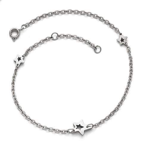 Chisel Stainless Steel Polished Stars extension Anklet (1 mm) - 9 in