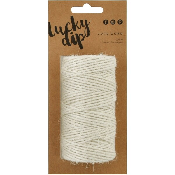 Lucky Dip Jute Cord-White, 1.2Mmx50m