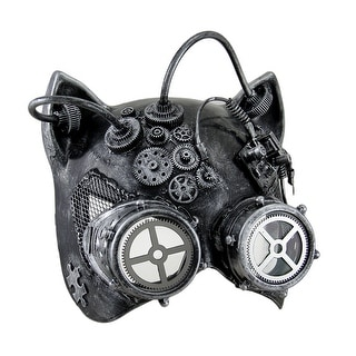 Steamkitty Metallic Finish Steampunk Cat Woman with Goggles Halloween Mask