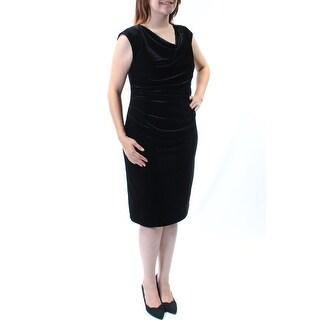 Womens Black Sleeveless Knee Length Sheath Evening Dress Size: S