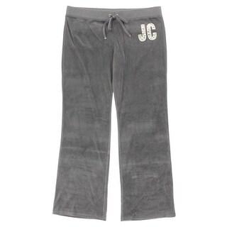 Juicy Couture Black Label Womens Velour Rhinestone Bootcut Pants - XL