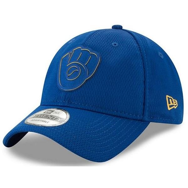super popular 802f2 3ccb1 New Era 2019 MLB Milwaukee Brewers Clubhouse Baseball Cap Hat Rubber Logo  920