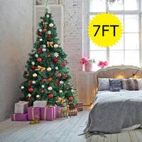 Costway 7Ft Artificial PVC Chrismas Tree W/Stand Holiday Season Indoor Outdoor Green