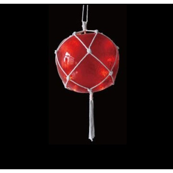 """11.5"""" Lighted Roped Red Ball Outdoor Christmas Decoration - Clear Lights"""