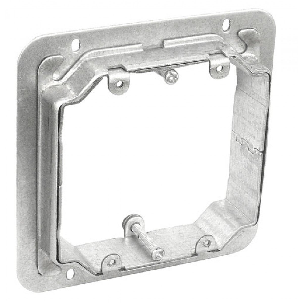 2 Pcs, 4-11/16 Two Gang Adjustable Depth Device Ring, 3/4 to 1-1/2 in. Raised, Zinc Plated Steel