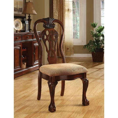 Pack of 2 Fabric Dining Side Chair in Cherry and Beige
