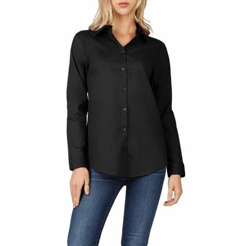 NE PEOPLE Womens Premium Basic Classic Long Sleeve Missy Fit Button Down Shirts Tops S-3XL