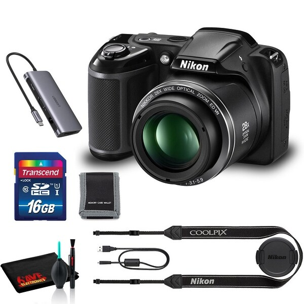 Nikon COOLPIX L340 Digital Camera (Black) with Cleaning Kit and 16GB Memory Kit. Opens flyout.