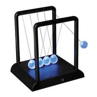 """LED Newton's Cradle - Law of Physics Frosted Glass Globes Cool Blue Lights - 9' x 11"""" - Black"""