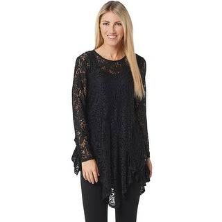 Link to Attitudes by Renee Womens Ruffle Lace Tunic and Tank Plus 2X Black A350623 Similar Items in Loungewear