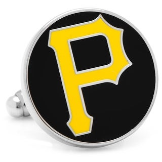 Rhodium Plated Pittsburgh Pirates Cufflinks MLB - Black