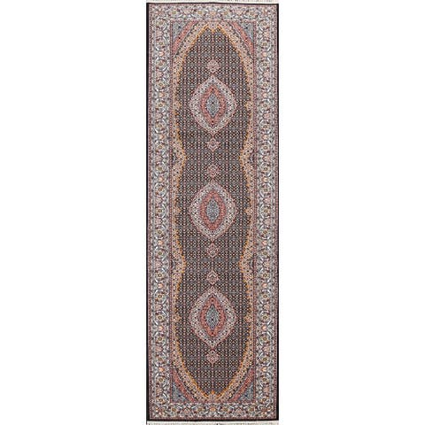 "Traditional Geometric Tabriz Mahi Persian Runner Rug Staircase Carpet - 3'4"" x 13'2"""