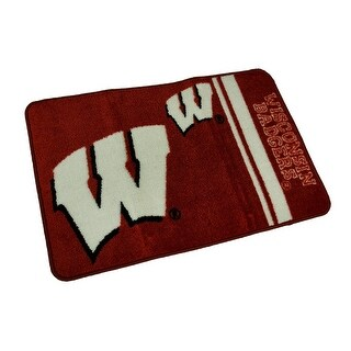 Officially Licensed Wisconsin Badgers Non-Skid Throw Rug 20 x 30 inch - Red