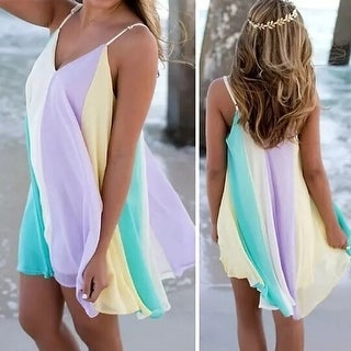 Beach Holiday Rainbow Dress +FREE SUMMER NECKLACE