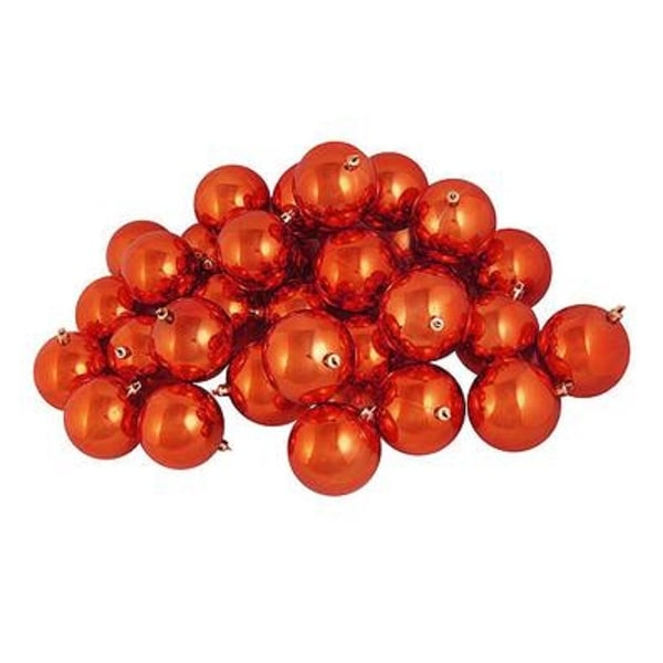 "32ct Shatterproof Shiny Burnt Orange Christmas Ball Ornaments 3.25"" (80mm)"