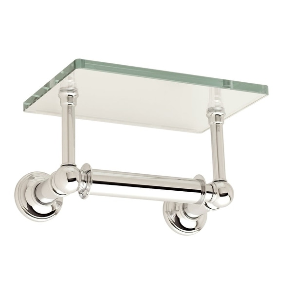 Ginger 4527 Single Post Toilet Paper Holder With Gl Shelf From The Columnar Collection