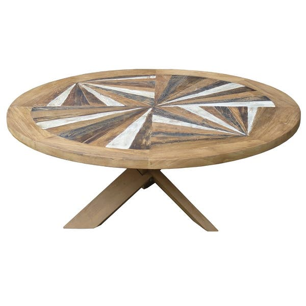 Chic Teak Tuscany Round Recycled Teak Wood Coffee Table 40 Inch Overstock 31843652