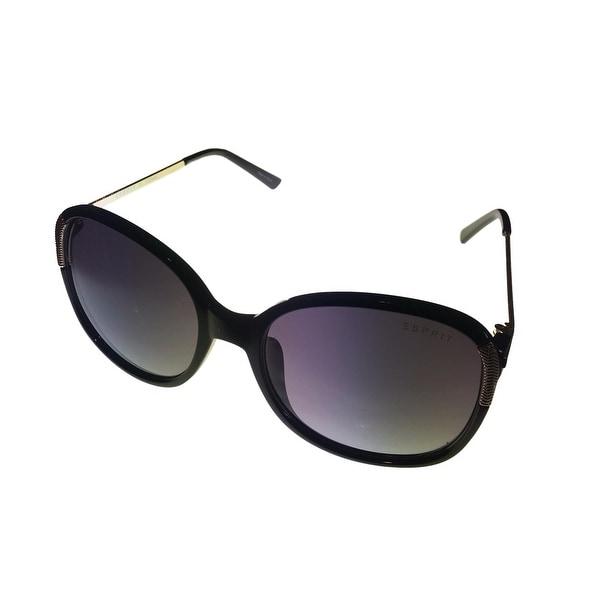 Esprit Womens Sunglass 19453 538 Black Gold Square Plastic Fashion Gradient Lens - Medium