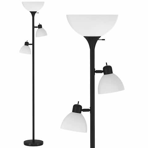 Black Floor Lamp with 2 x Side Reading Lights (Black) Model 6282-21 - Measures: L:12 in. x W:24 in. x H:72 in.