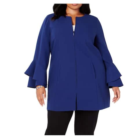 Alfani Womens Jacket Blue Size 1X Plus Ruffle Flounce Sleeve Full Zip