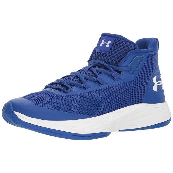 Shop Under Armour Men'S Jet Mid Basketball Shoe Black Steel Mens Blue Under Armour Shoes