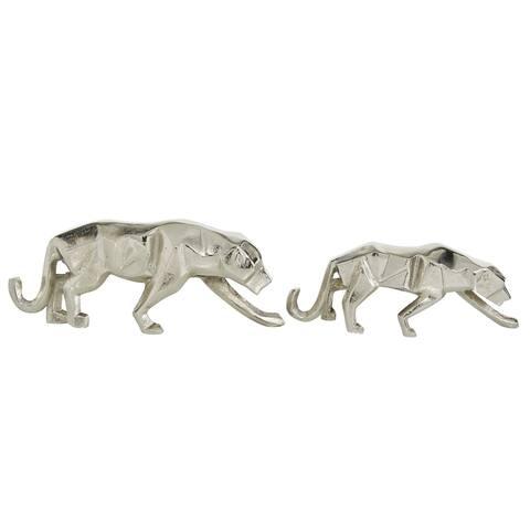 Decorative Aluminum Jaguar Sculptures in Silver Finish, Set of 2 - 12 x 2 x 5