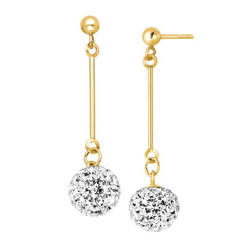 Crystal Elongated Ball Drop Earrings in 14K Gold