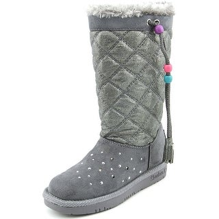 Twinkle Toes By Skechers Pretty Preppy Youth Round Toe Canvas Gray Winter Boot