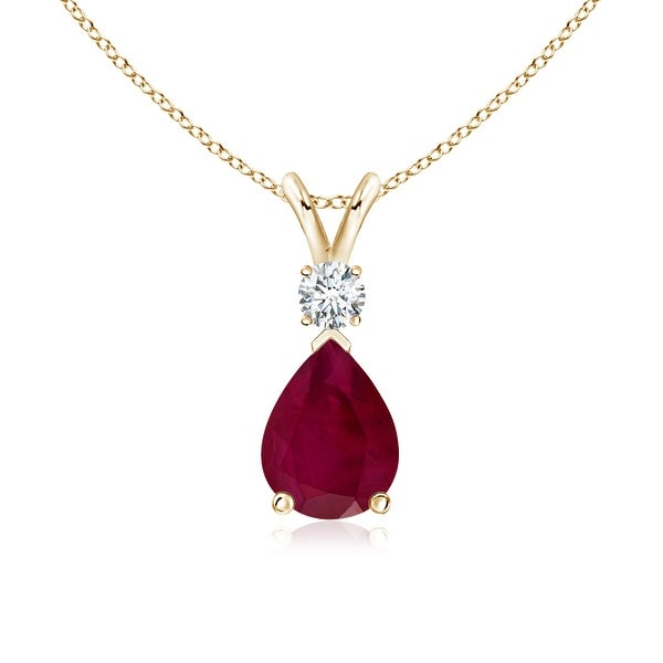 Angara Pear Ruby Teardrop Pendant Necklace with Diamond