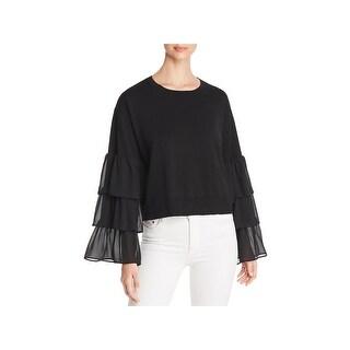 MICHAEL Michael Kors Womens Pullover Sweater Mixed Media Ruffle Sleeves