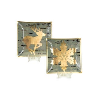 """Set of 2 Luxury Lodge Gold Snowflake & Reindeer Decorative Gray Birch Glass Christmas Plate Chargers 12"""""""